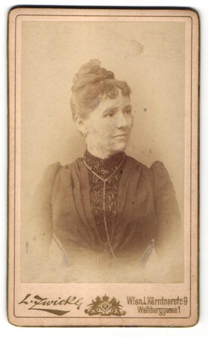 Fotografie L. Zwickl, Wien, Portrait Dame mit Hochsteckfrisur
