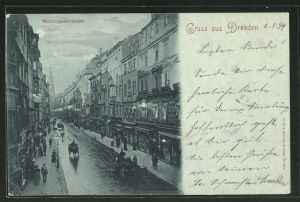 Mondschein-AK Dresden, geschäftiges Treiben in der Schlossstrasse
