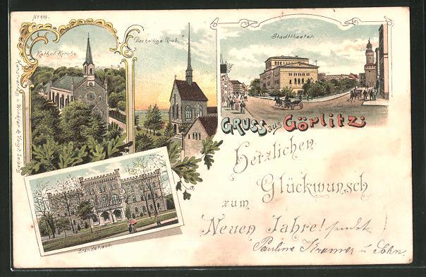 Lithographie Görlitz, Ortspartie mit Ständehaus, Stadttheater & Heiligem Grab