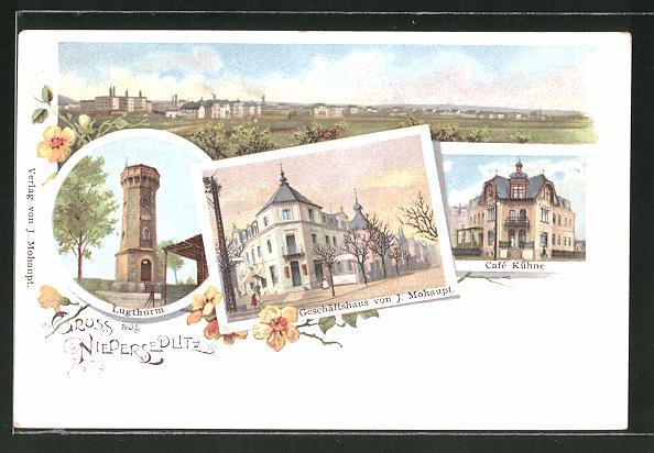 Lithographie Dresden-Niedersedlitz, Cafe Kühne, Geschäftshaus von J. Mohaupt