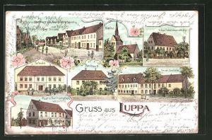 Lithographie Luppa, Gasthaus zum Kronprinz an der Leipzig-Dresdner Strasse, Post und Restaurant von H. Hennig