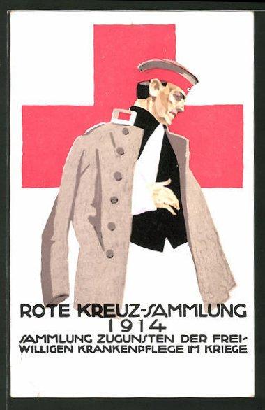 Künstler-AK Ludwig Hohlwein: Rote Kreuz-Sammlung 1914 zugunsten der freiwilligen Krankenpflege, Verwundeter Soldat