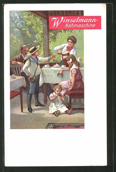 AK Winselmann-Nähmaschine, Familie beim Frühstück