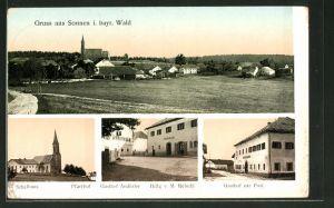 AK Sonnen i. bayr. Wald, Totalansicht, Schule, Pfarrhof, Gasthaus Andörfer, Gasthaus zur Post