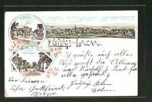 Lithographie Lauenau, Totalansicht, Marktstrasse, Am Rundthell