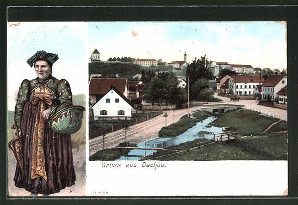 AK Dachau, Strassenpartie am Ortsrand, Dachauerin in Tracht