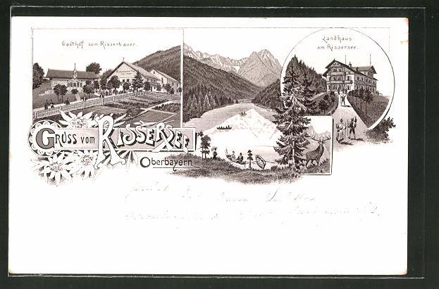 Lithographie Rissersee, Gasthof zum Risserbauer, Landhaus am Rissersee