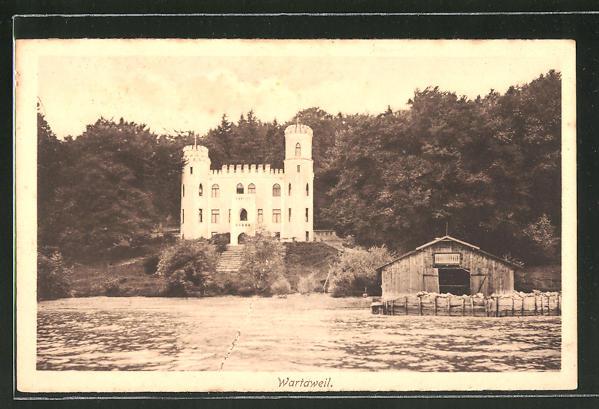 AK Wartaweil, Blick auf Schloss vom Wasser aus gesehen