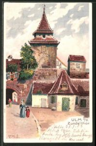 Lithographie Ulm a. Donau, Strassenpartie am Zundelthor