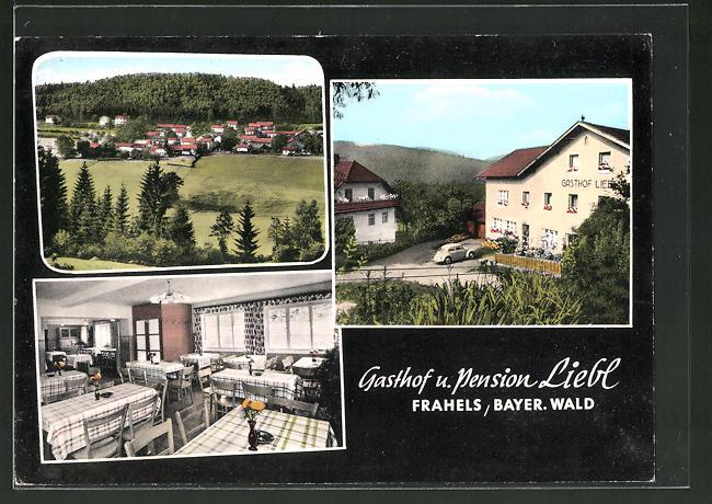 AK Frahels / Bayer. Wald, Ortsansicht, Gasthaus & Pension Liebl