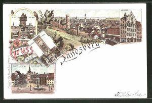 Lithographie Landsberg, Totalansicht, Rathaus, Mütter-Thurm, Bayer-Thor, Markt mit Schmalzthurm