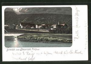 Mondschein-Lithographie Beuron, Ortsansicht vom Wasser aus gesehen