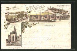 Lithographie Würzburg, Käppele, Ortsansicht, Mainbrücke u. Festung, Marienkirche