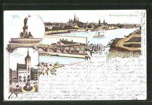 Lithographie Würzburg, Luitpold-Brunnen, Würburg v. d. neuen Brücke, alt. Brücke u. Festung