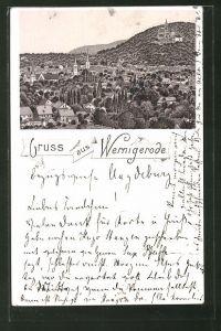 Lithographie Wernigerode, Panoramablick auf die Stadt