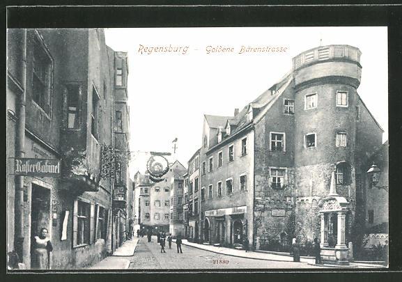 ak regensburg blick in die goldene b renstrasse nr. Black Bedroom Furniture Sets. Home Design Ideas