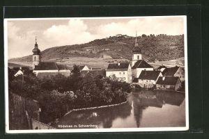 AK Rödelsee, Teilansicht mit Kirchen und Blick zum Schwanberg