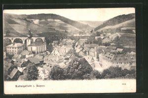 AK Ludwigsstadt / Bayern, Ortspartie mit Brücke aus der Vogelschau