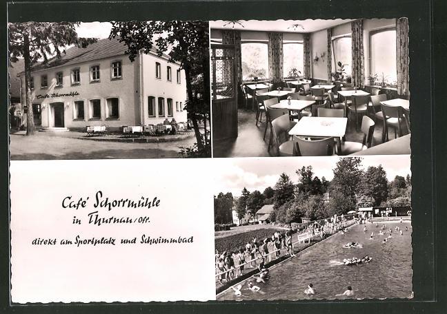 AK Thurnau / Ofr., Café Schorrmühle, Sportplatz, Schwimmbad