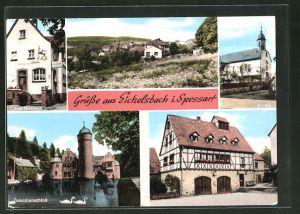 AK Eichelsbach / Spessart, Zum Hirschen, Märchenschloss, Kirche