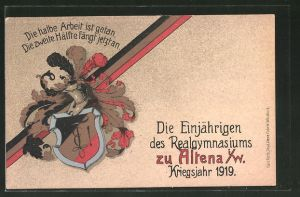 AK Altena, die Einjährigen des Realgymnasiums, Kriegsjahr 1919
