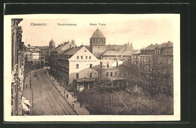 AK Chemnitz, Theaterstrasse und Roter Turm