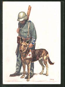 Künstler-AK Bundesfeier 1937, Für das schweizerische Rote Kreuz, Hundeführer mit Sanitätshund