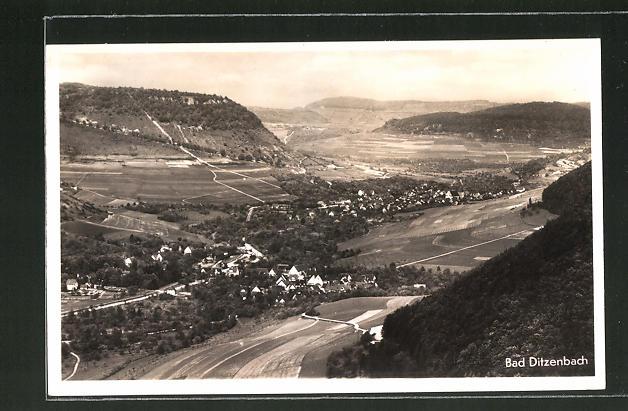 AK Bad Ditzenbach, Ortspanorama vom Berg aus gesehen