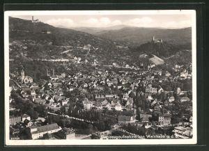 AK Weinheim a. d. B., Ortsansicht vom Flugzeug aus