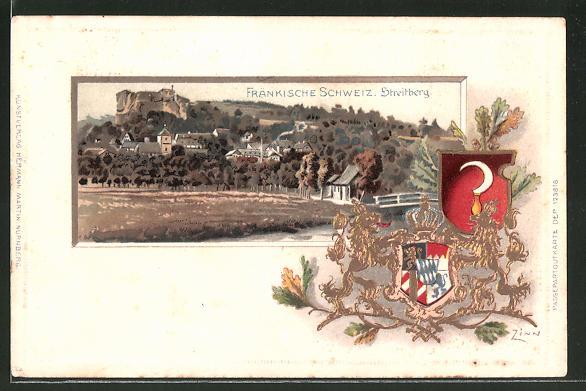 Passepartout-Lithographie Streitberg /Fränk. Schw., Panorama und Wappen
