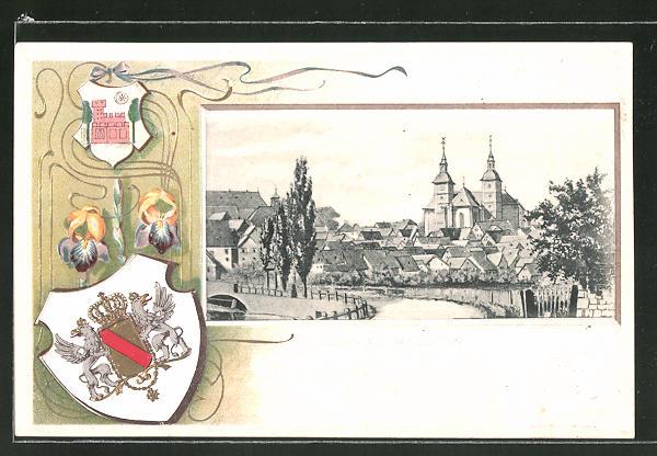 Passepartout-Lithographie Walldürn, Panorama und Wappen