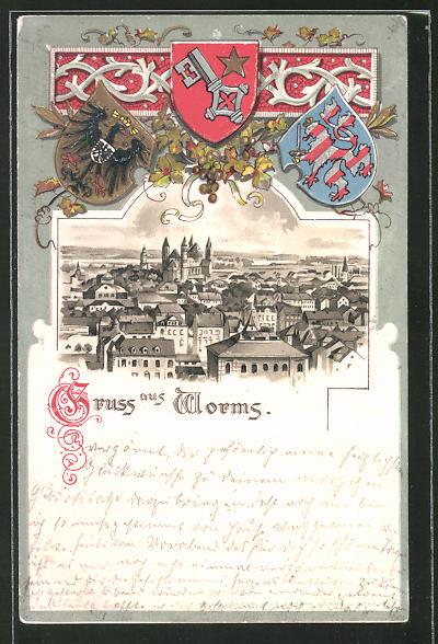 Passepartout-Lithographie Worms, Panorama und drei Wappen
