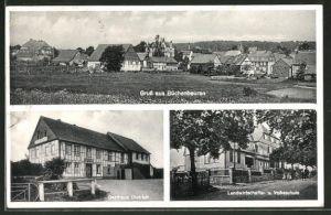 AK Büchenbeuren, Gasthaus Dietrich, Landwirtschafts- u. Volksschule, Ortsansicht