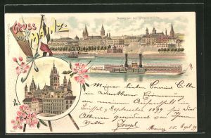 Lithographie Mainz, Sicht auf den Dom, Gesamtansicht von der Strassenbrücke