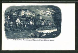 Mondschein-Lithographie Tübingen, Schloss und Alleenbrücke im Mondschein