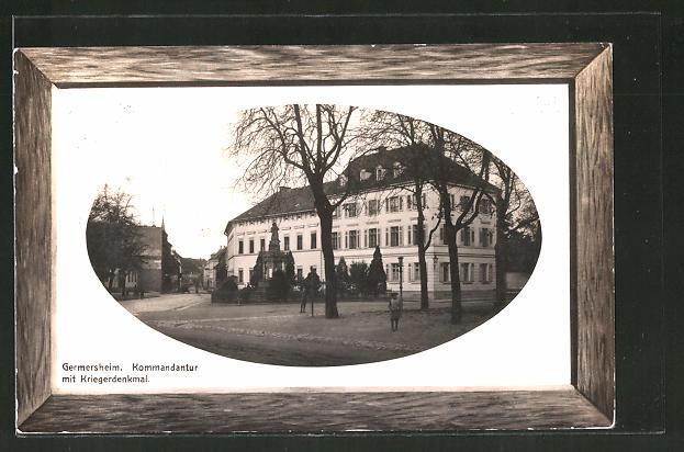 Präge-AK Germersheim, Kommandantur mit Kriegerdenkmal