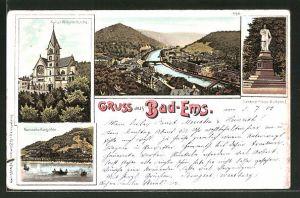Lithographie Bad Ems, Kaiser Wilhelm-Kirche, Denkmal Kaiser Wilhelm I., Kursaal & Kurgarten