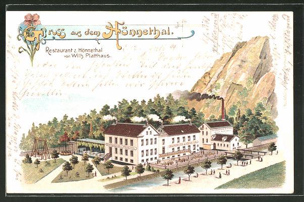 Lithographie Menden, Restaurant zum Hönnethal von W. Platthaus