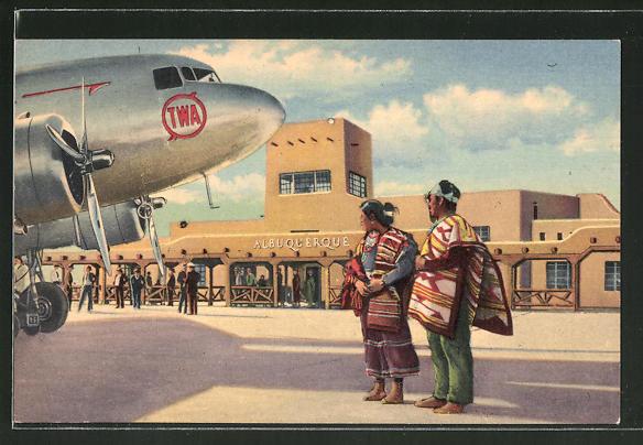 AK Albuquerque, NM, Municipal Airport, Flughafen, TWA-Flugzeug