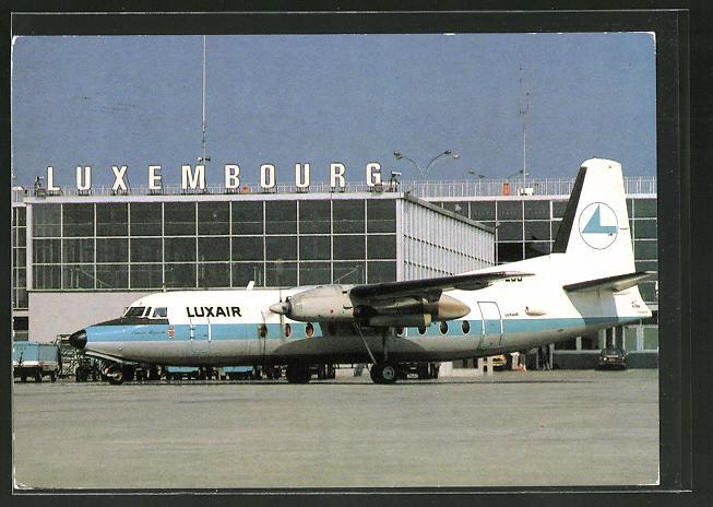 AK Luxembourg, Luxair Fokker Friendship F27 auf dem Flughafen