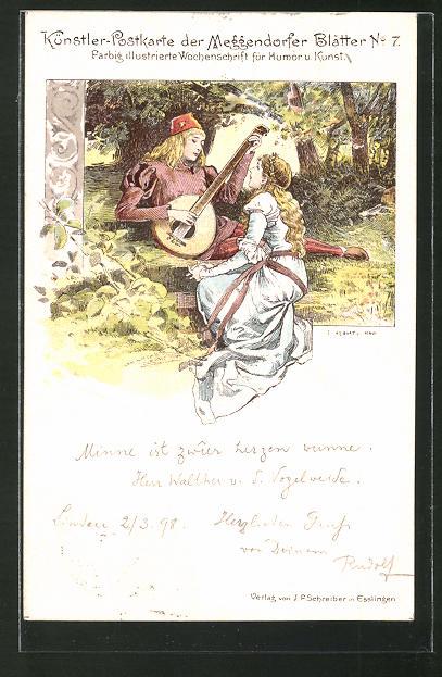 Künstler-Lithographie Meggendorfer Blätter Nr. 7: Minnesänger und Maid, Mittelalter