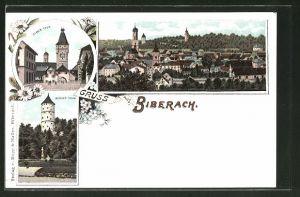 Lithographie Biberach, Ulmer Thor, Weisser Thurm, Teilansicht