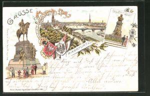 Lithographie Frankfurt, Kaiser Wilhelm-Denkmal, Kaiser Wilhelm-Denkmal auf dem Posthof