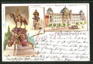 Lithographie Frankfurt, Neues Kaiserl. Postgebäude, Denkmal Kaiser Wilhelm I. im Postgebäude