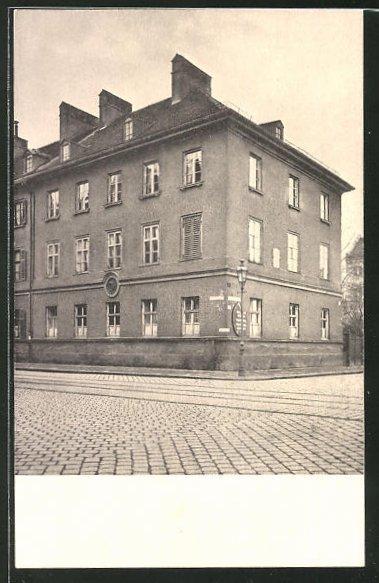 AK München, Gabelsberger Wohnhaus an der Gabelsbergerstrasse (mit Medaillen und Gedenktafel)