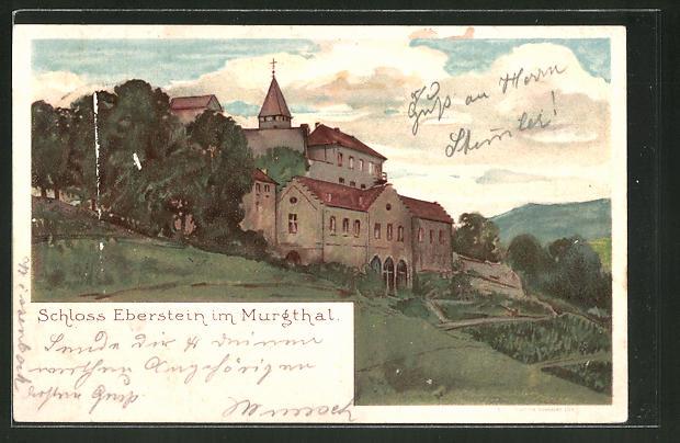 Lithographie Gernsbach, Schloss Eberstein im Murgthal