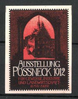 Reklamemarke Pössneck, Ausstellung für Gewerbe und Landwirtschaft 1912, Rathaus