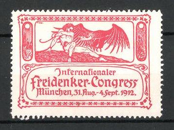 Reklamemarke München, internationaler Freidenker-Kongress 1912, Mann mit Adler
