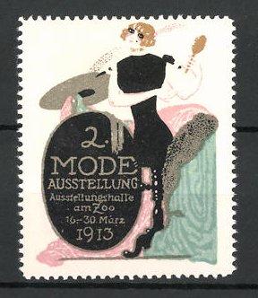 Reklamemarke Berlin, 2. Mode-Ausstellung 1913, Dame mit modischer Kleidung
