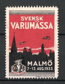 Reklamemarke Malmö, Svenske Varumässa 1933, Stadtsilhouette und Wappen